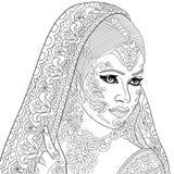 Zentangle传统化了印地安妇女 库存图片