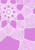 Zentangle abstract flower. Decorative flower. Hand drawn illustration. Ornament for Greeting Card. White lines on purple pink back. Ground. Doodle drawing Royalty Free Stock Images