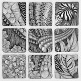 Zentangle abstracte illustratie Krabbel hand-tekening, patronen Stock Foto's