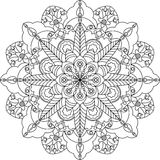Zentangle adult coloring page, mandala with flowers. Stock Images