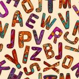 Zentangle-Alphabet-nahtloses Muster Stockfotos