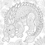 Zentangle ankylosaurus dinosaur. Stylized ankylosaurus dinosaur of the Cretaceous period. Freehand sketch for adult anti stress coloring book page with doodle Stock Photo
