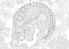 Zentangle ankylosaurus dinosaur. Stylized ankylosaurus dinosaur of the Cretaceous period. Freehand sketch for adult anti stress coloring book page with doodle Royalty Free Stock Image