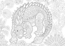 Zentangle ankylosaurus dinosaur Royalty Free Stock Image