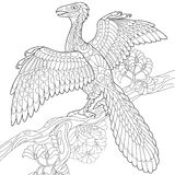 Zentangle archeopteryx dinosaur Royalty Free Stock Image
