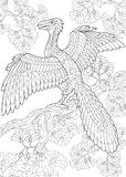 Zentangle archeopteryx dinosaur Royalty Free Stock Photo