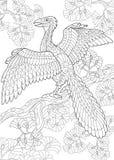 Zentangle-Archeopteryxdinosaurier Lizenzfreies Stockfoto