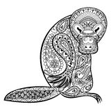 Zentangle Australian platypus totem for adult anti stress. Coloring Page for art therapy, tribal illustration in doodle style. Vector monochrome sketch with Royalty Free Stock Photos
