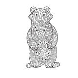 Zentangle the Baikal bear for adult anti stress Coloring Page Stock Photography