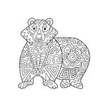 Zentangle the Baikal bear for adult anti stress Coloring Page fo Stock Image
