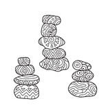 Zentangle the Baikal cairns for adult anti stress Coloring Stock Photos