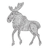 Zentangle the Baikal elk for adult anti stress Coloring Page. For art therapy, illustration in doodle style. Vector monochrome sketch with geometric pattern  on Stock Photography