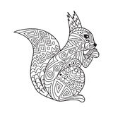 Zentangle the Baikal squirrel for adult anti stress Coloring Royalty Free Stock Photography