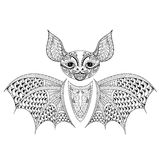 Zentangle Bat totem for adult anti stress Coloring Page  Royalty Free Stock Photo