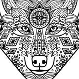 Zentangle black contour wolf head. With hand drawn guata vector ornament Stock Photos