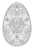 Zentangle black and white decorative Easter egg. Royalty Free Stock Photos