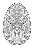 Zentangle black and white decorative Easter egg. Royalty Free Stock Image