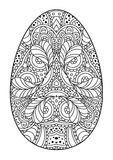 Zentangle black and white decorative Easter egg. Stock Photography