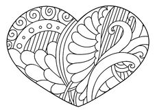 Zentangle  black and white decorative heart. Stock Image