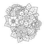 Zentangle bloemenpatroon Stock Fotografie