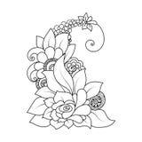Zentangle bloemenpatroon Stock Afbeelding