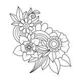 Zentangle bloemenpatroon Stock Afbeeldingen