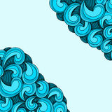 Zentangle blue waves Royalty Free Stock Photo