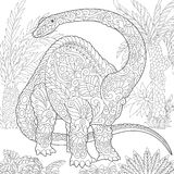 Zentangle brontosaurus dinosaur Royalty Free Stock Images
