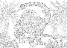 Zentangle brontosaurus dinosaur Royalty Free Stock Photos