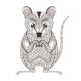 Zentangle brown  Possum totem for adult anti stress Coloring Royalty Free Stock Photo