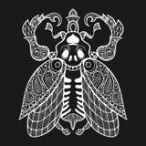 Zentangle Bug with skull, monochrome illustartion tribal totem i Royalty Free Stock Photography