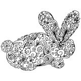 Zentangle Bunny Outline Stock Foto's
