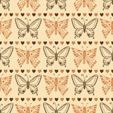 Zentangle butterfly pattern. Autumn seamless wrapping paper. Vector Royalty Free Stock Photography