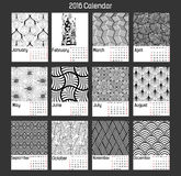 Zentangle Calendar-2016 Fotografia Stock