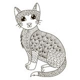 Zentangle cat for coloring page, shirt design, logo, tattoo and decoration Stock Photo
