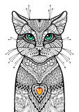 Zentangle cat with glossy green eyes and red candle heart. Hand drawn ornamental illustration. Doodle tribal sketch Stock Image