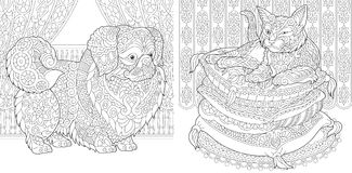 Zentangle cat and pekingese dog. Coloring Pages. Cat on pillows. Pekingese or Japanese Chin Dog. Adult Coloring Book idea. Antistress freehand sketch drawing Stock Photos