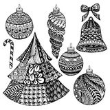 Zentangle christmas collection Stock Photos