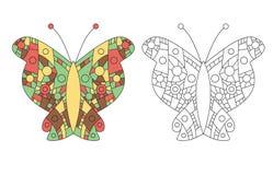 Zentangle coloring book butterfly vector Royalty Free Stock Photos
