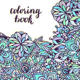 Zentangle coloring page. Doodle flowers pattern in vector. Creative floral background for packaging or book design. Stock Photography