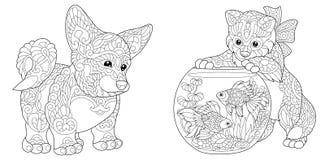Zentangle corgihund och kattunge stock illustrationer