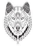 Zentangle da cabeça do lobo cinzento estilizado ilustração stock
