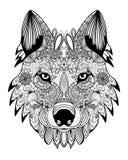Zentangle da cabeça do lobo do vetor Foto de Stock Royalty Free