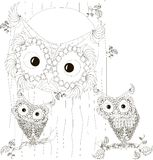 Zentangle, de gestileerde zwart-witte zitting van de uilenfamilie in hol en op takken van boomboomstam, getrokken hand, vector Royalty-vrije Stock Afbeelding
