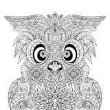 Zentangle de la mandala de Owl Portrait Imágenes de archivo libres de regalías