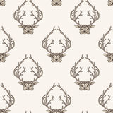 Zentangle deer seamless pattern. Hand Drawn  Royalty Free Stock Photography