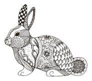 Zentangle del coniglio stilizzato immagine stock
