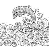 Zentangle del delfino Fotografie Stock Libere da Diritti