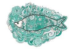 Zentangle del disegno della mano A coda di pesce decorativo e astratto Libro di coloritura illustrazione di stock