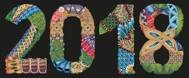 Zentangle 2018 del número en un fondo oscuro Objeto decorativo del vector Fotografía de archivo libre de regalías